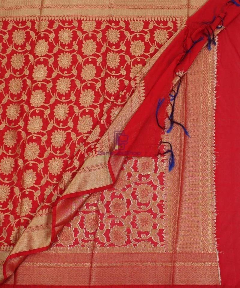Banarasi Cotton Silk Jaal Red Dupatta 3