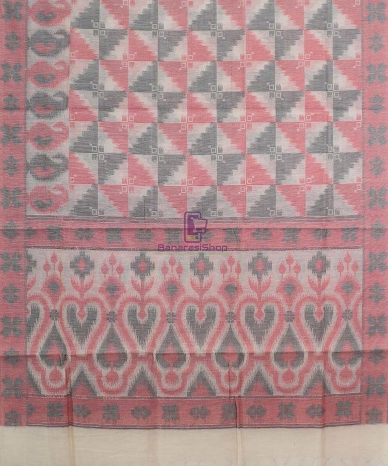 Banarasi Cotton Silk Beige, Red and Black Dupatta 1