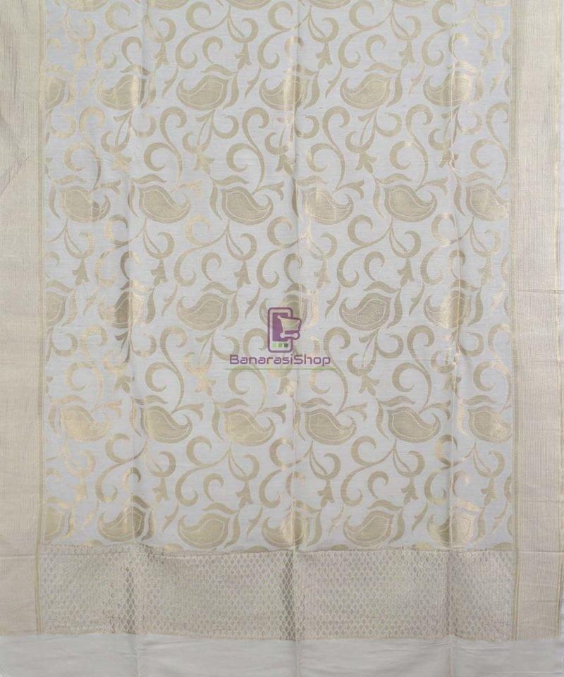 Handloom Banarasi Pure Muga Silk Dupatta in White 1