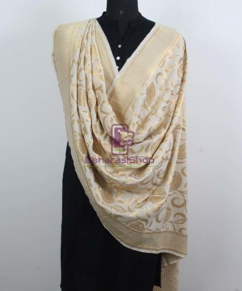 Handloom Banarasi Pure Muga Silk Dupatta in White 4