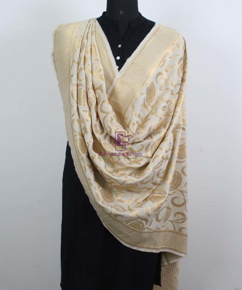Handloom Banarasi Pure Muga Silk Dupatta in White 2