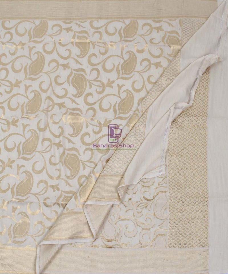 Handloom Banarasi Pure Muga Silk Dupatta in White 3