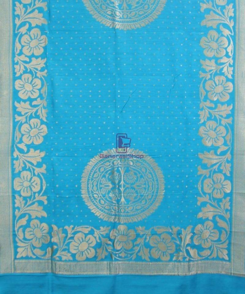 Handloom Banarasi Pure Muga Silk Dupatta in Sky Blue 1