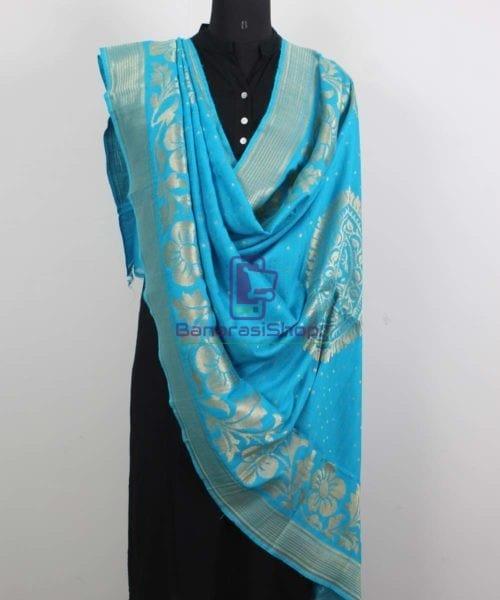 Handloom Banarasi Pure Muga Silk Dupatta in Sky Blue 4