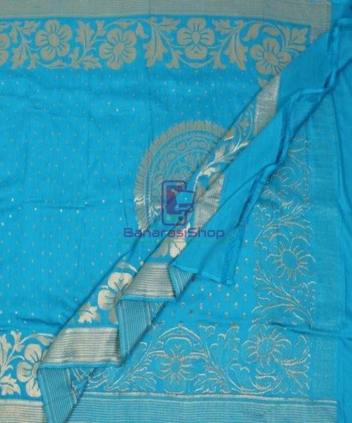 Handloom Banarasi Pure Muga Silk Dupatta in Sky Blue 5