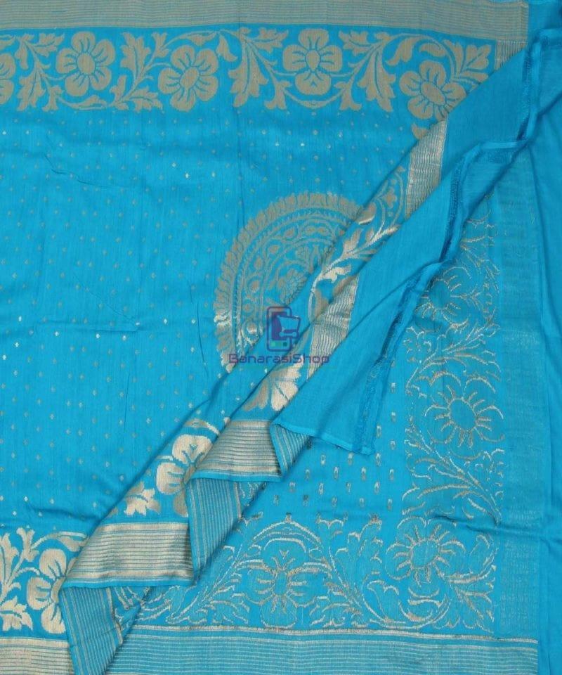 Handloom Banarasi Pure Muga Silk Dupatta in Sky Blue 3
