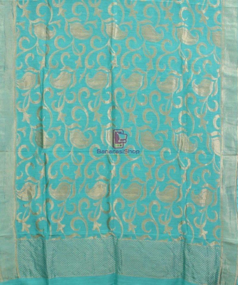 Handloom Banarasi Pure Muga Silk Dupatta in Sea Green 1