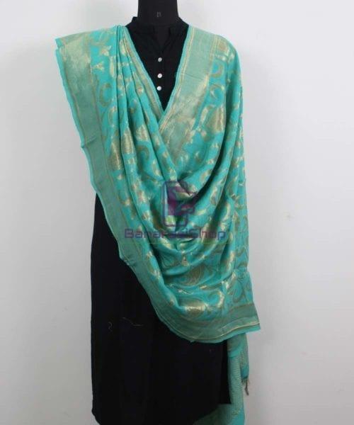 Handloom Banarasi Pure Muga Silk Dupatta in Sea Green 4