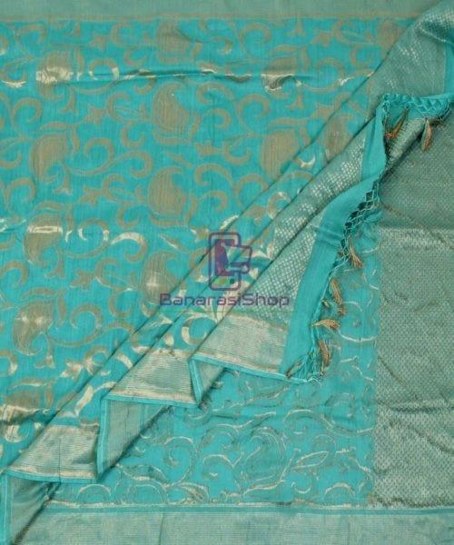 Handloom Banarasi Pure Muga Silk Dupatta in Sea Green 5