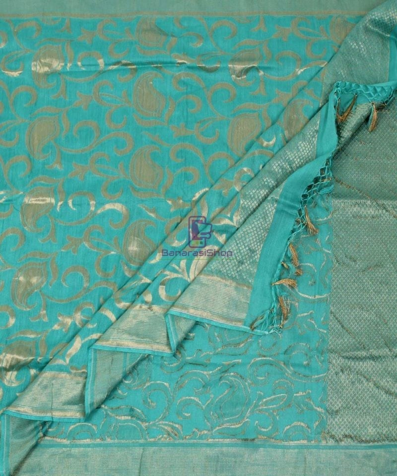 Handloom Banarasi Pure Muga Silk Dupatta in Sea Green 3