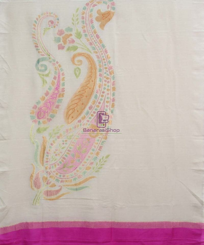 Banarasi Handloom Pure Muga Silk Zari Woven Handpainted Paisley Dupatta in Beige and Pink 1
