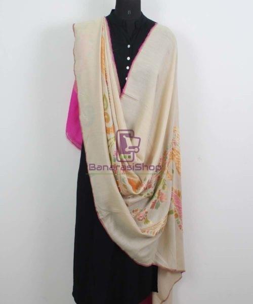 Banarasi Handloom Pure Muga Silk Zari Woven Handpainted Paisley Dupatta in Beige and Pink 4