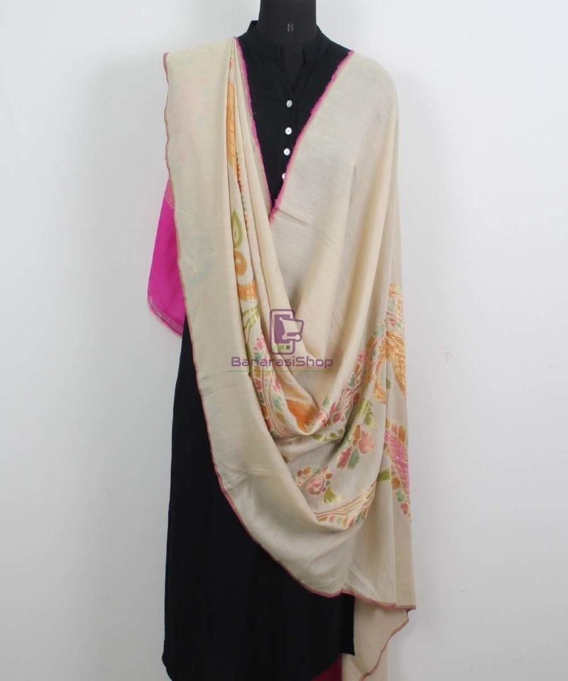 Banarasi Handloom Pure Muga Silk Zari Woven Handpainted Paisley Dupatta in Beige and Pink 2