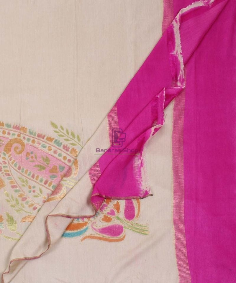 Banarasi Handloom Pure Muga Silk Zari Woven Handpainted Paisley Dupatta in Beige and Pink 3