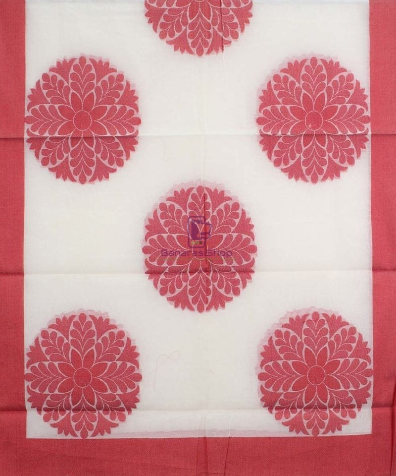 Banarasi Cotton Silk White Dupatta 1
