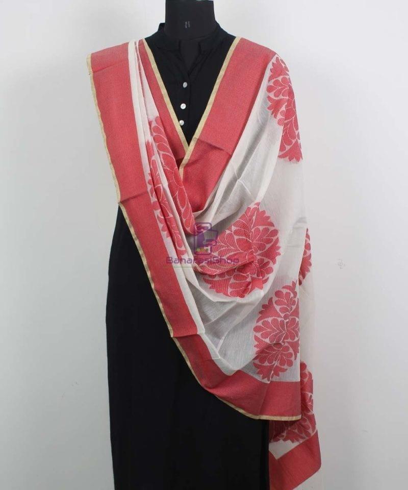 Banarasi Cotton Silk White Dupatta 2