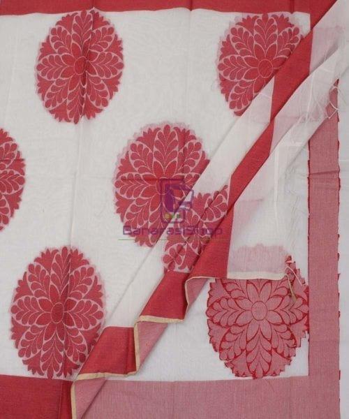 Banarasi Cotton Silk White Dupatta 5