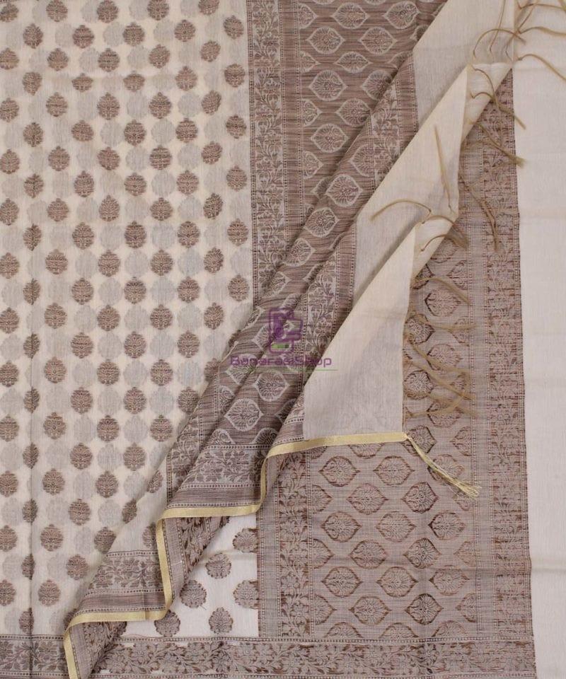Banarasi Cotton Silk Beige Dupatta 3