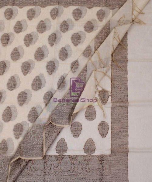 Banarasi Cotton Silk Beige Dupatta 5