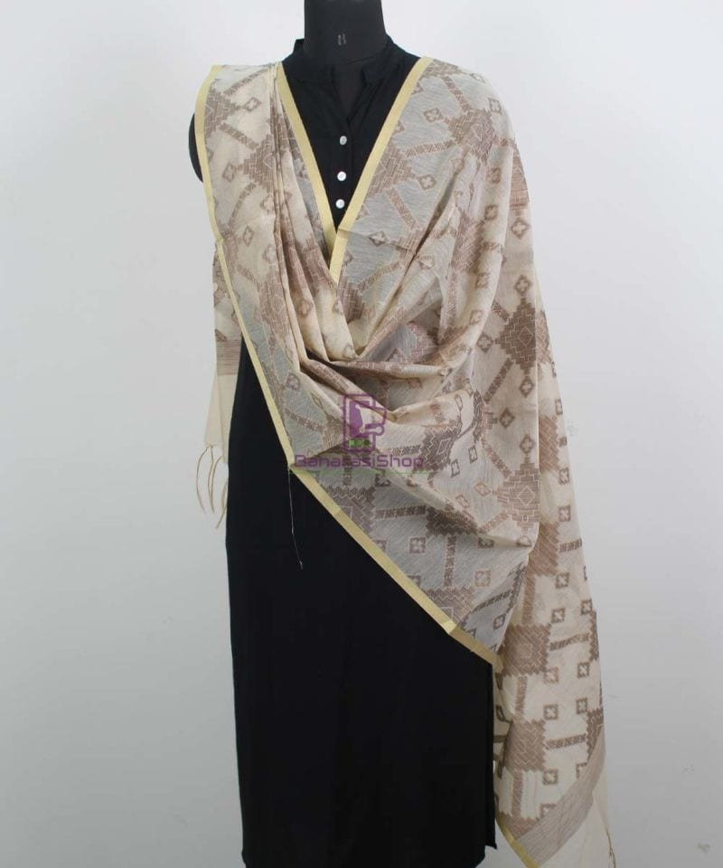 Banarasi Cotton Silk Beige Dupatta 2