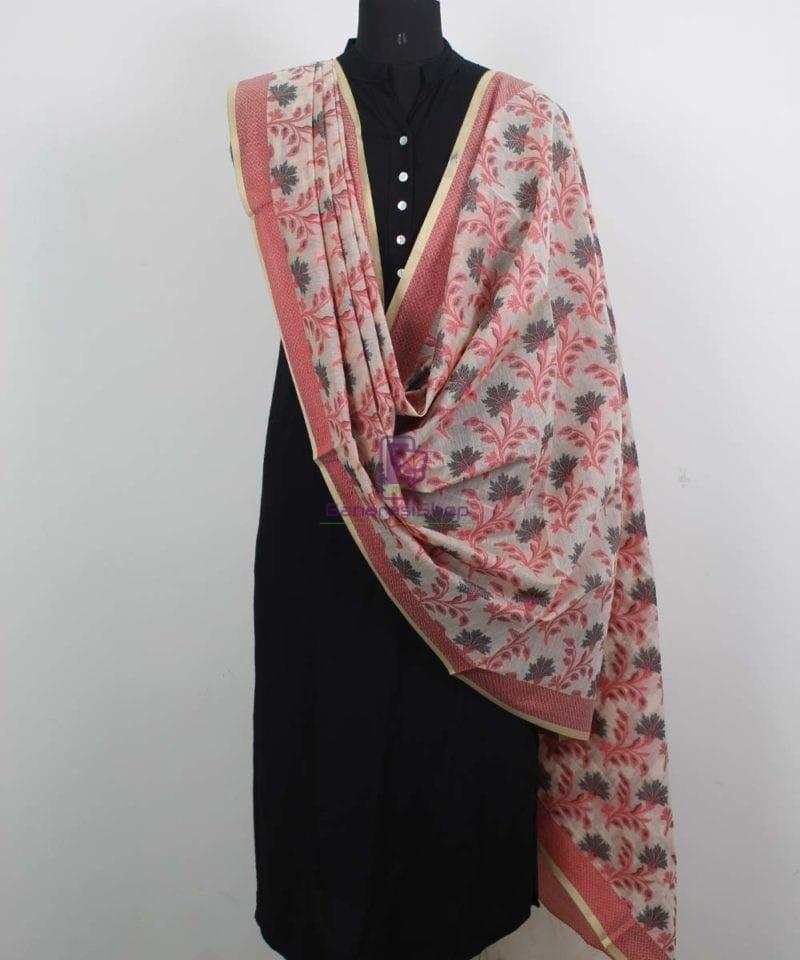 Banarasi Cotton Silk Red, Black and Beige Dupatta 2