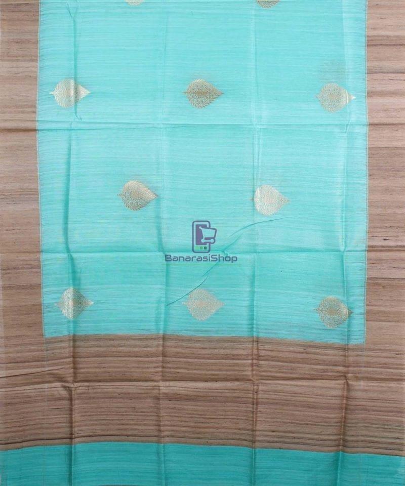 Banarasi Pure Dupion Silk Handloom Cyan Blue Dupatta With Khichha Pallu 1