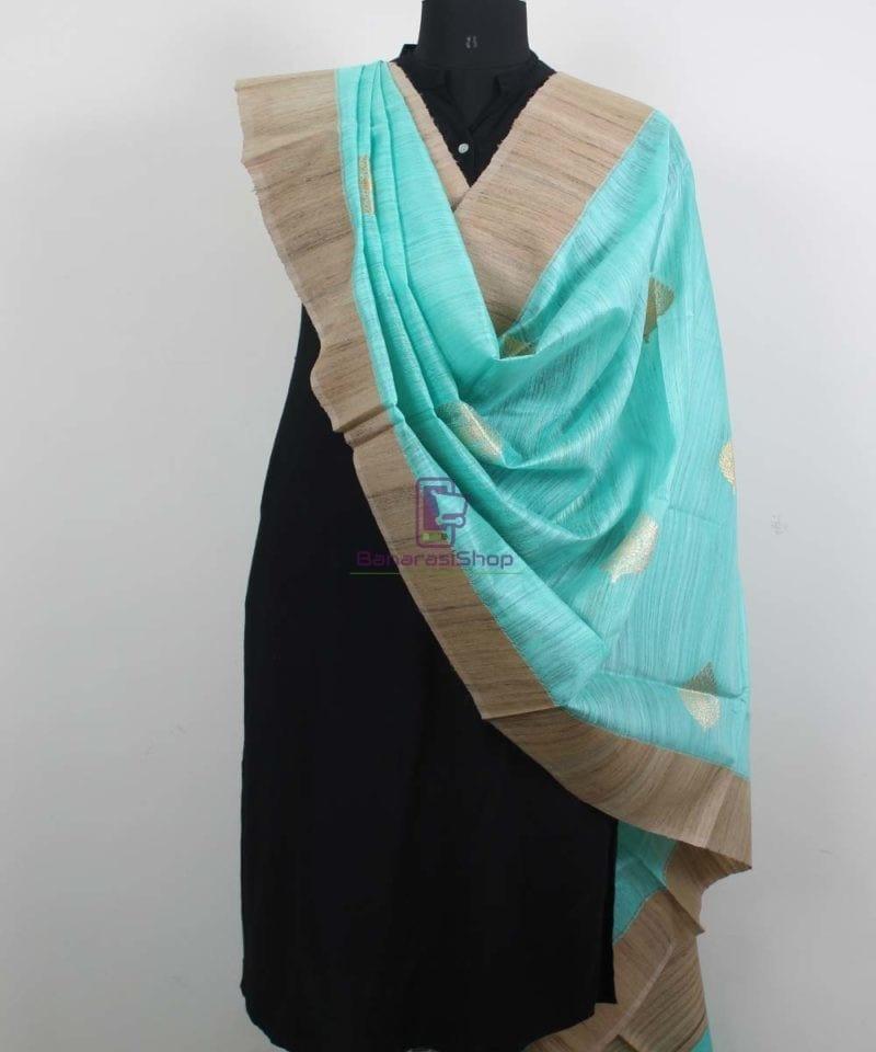 Banarasi Pure Dupion Silk Handloom Cyan Blue Dupatta With Khichha Pallu 2