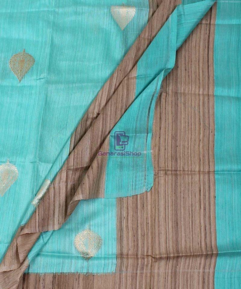 Banarasi Pure Dupion Silk Handloom Cyan Blue Dupatta With Khichha Pallu 3