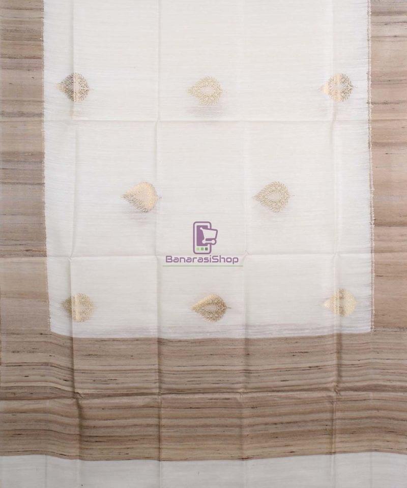 Banarasi Pure Dupion Silk Handloom White Dupatta With Khichha Pallu 1