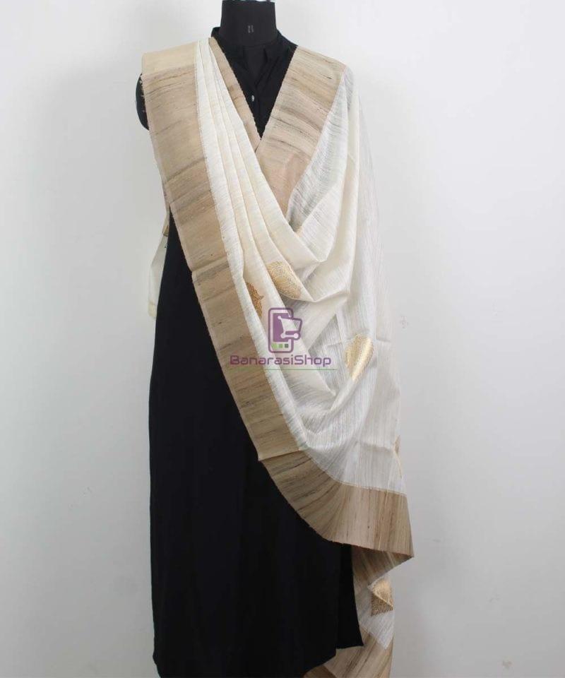Banarasi Pure Dupion Silk Handloom White Dupatta With Khichha Pallu 2