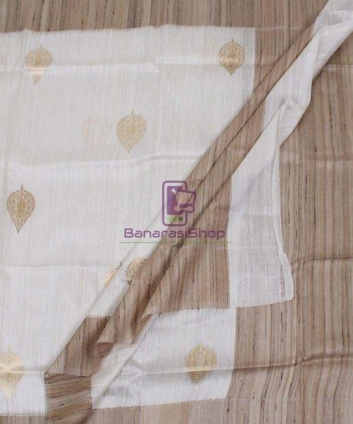 Banarasi Pure Dupion Silk Handloom White Dupatta With Khichha Pallu 5