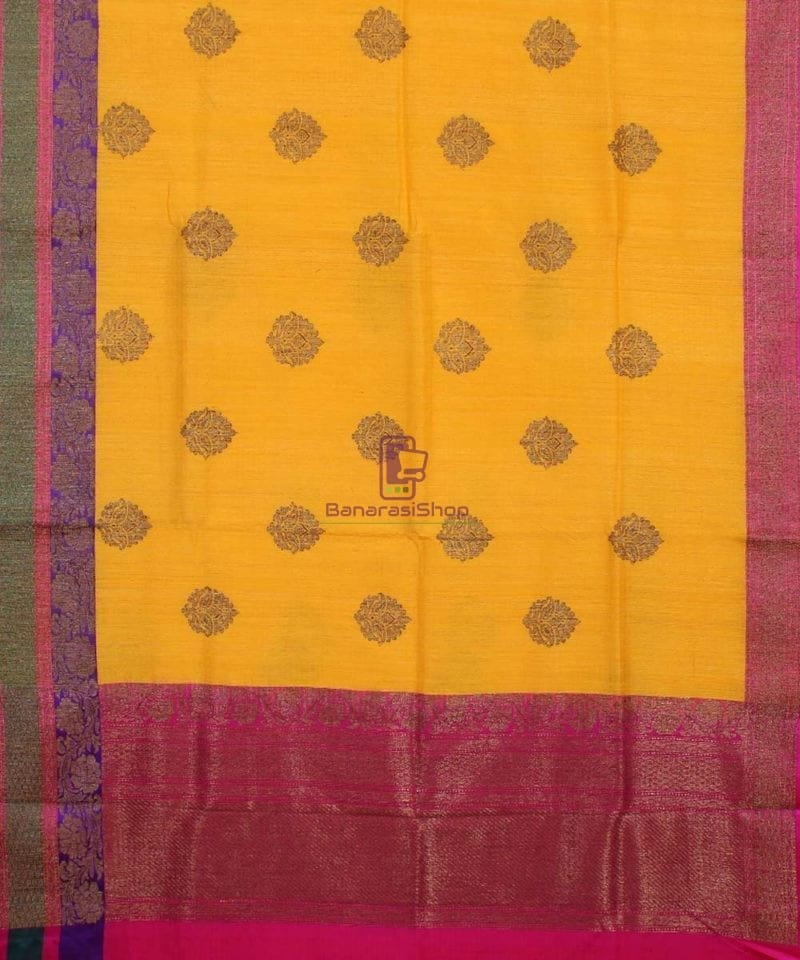 Banarasi Pure Handloom Dupion Silk Yellow Saree 1
