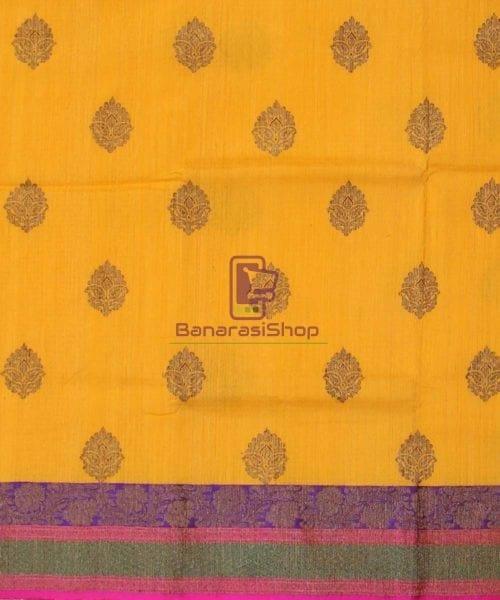 Banarasi Pure Handloom Dupion Silk Yellow Saree 4