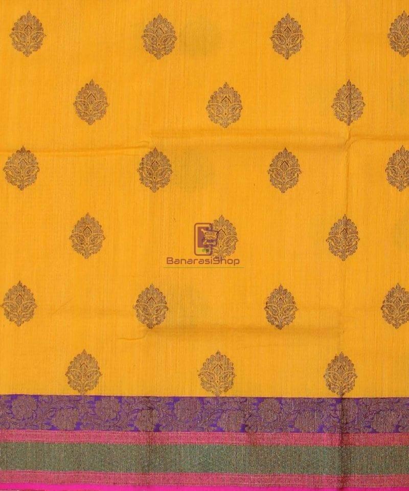 Banarasi Pure Handloom Dupion Silk Yellow Saree 2