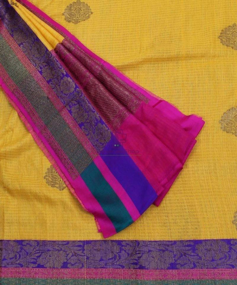 Banarasi Pure Handloom Dupion Silk Yellow Saree 3