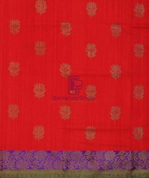 Banarasi Pure Handloom Dupion Silk Red Saree 4
