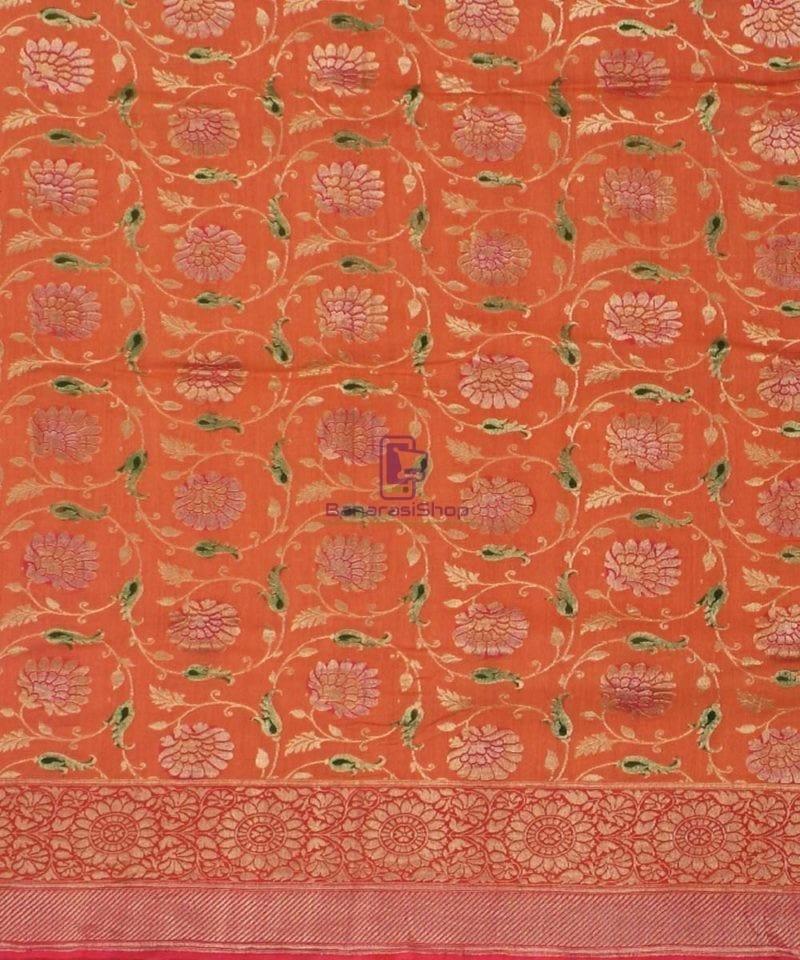 Banarasi Pure Handloom Muga Orange Silk Saree 2