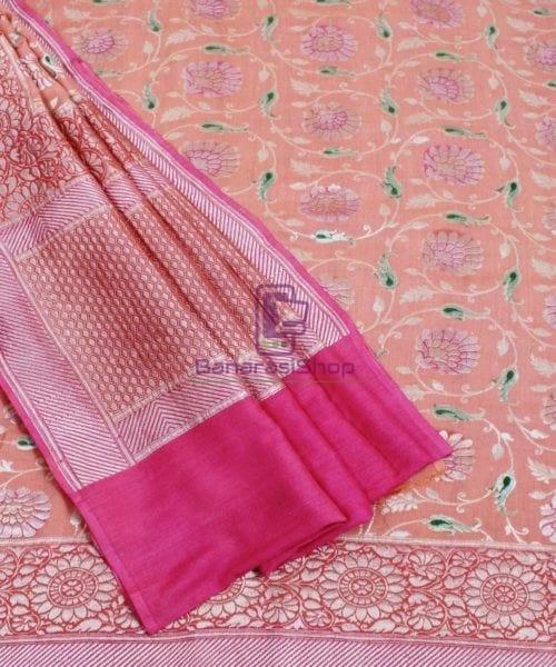 Banarasi Pure Handloom Muga Orange Silk Saree 5
