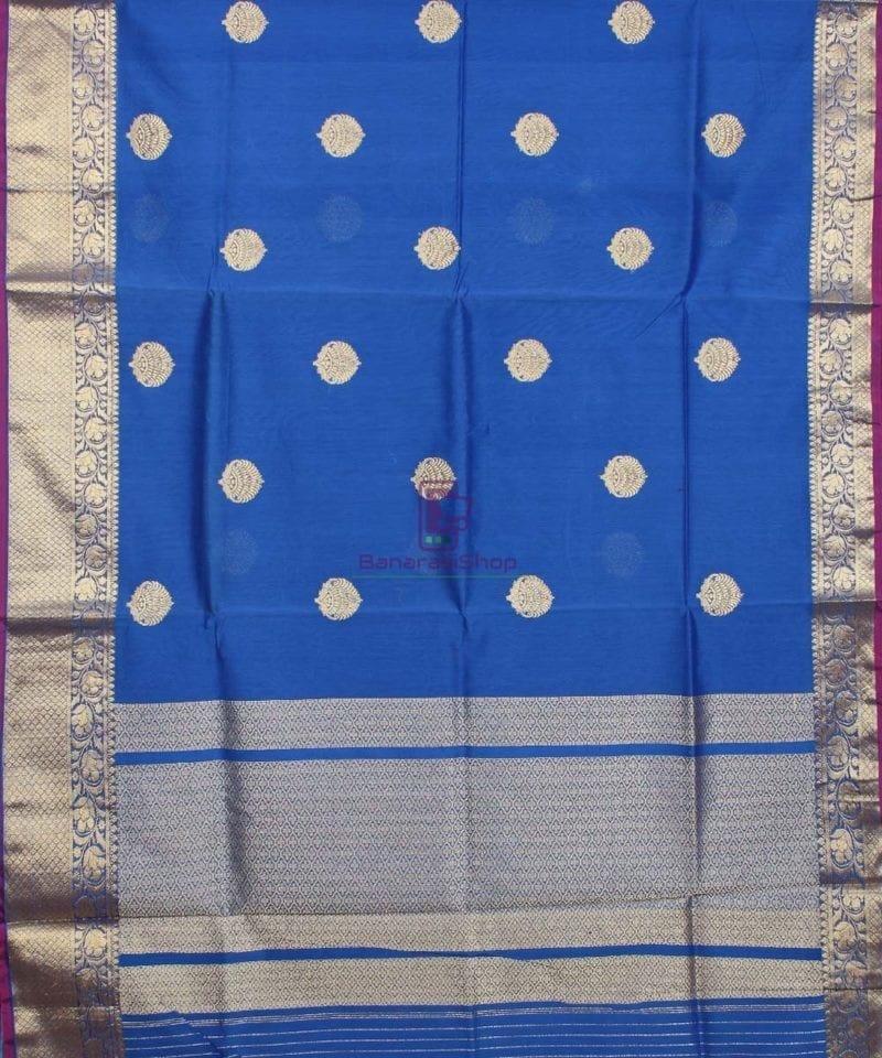 Banarasi Pure Handloom Silk Cotton Blue Saree 1