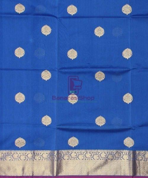Banarasi Pure Handloom Silk Cotton Blue Saree 4