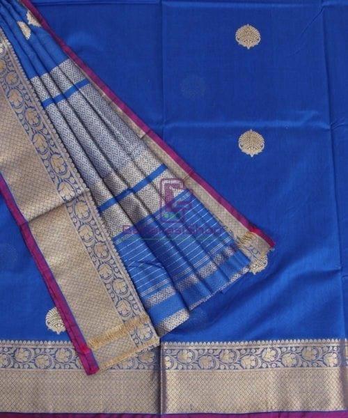 Banarasi Pure Handloom Silk Cotton Blue Saree 5