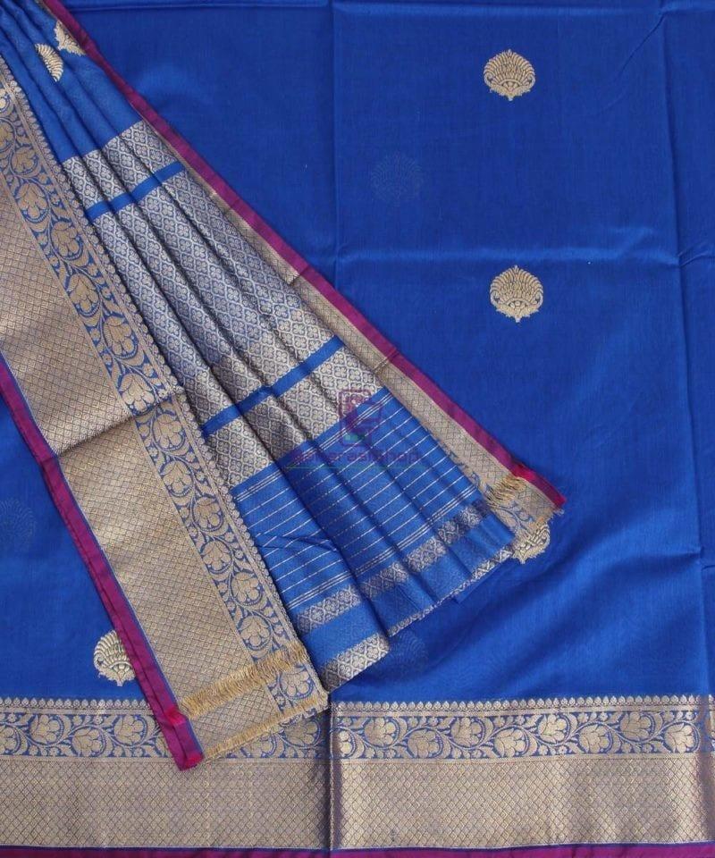 Banarasi Pure Handloom Silk Cotton Blue Saree 3