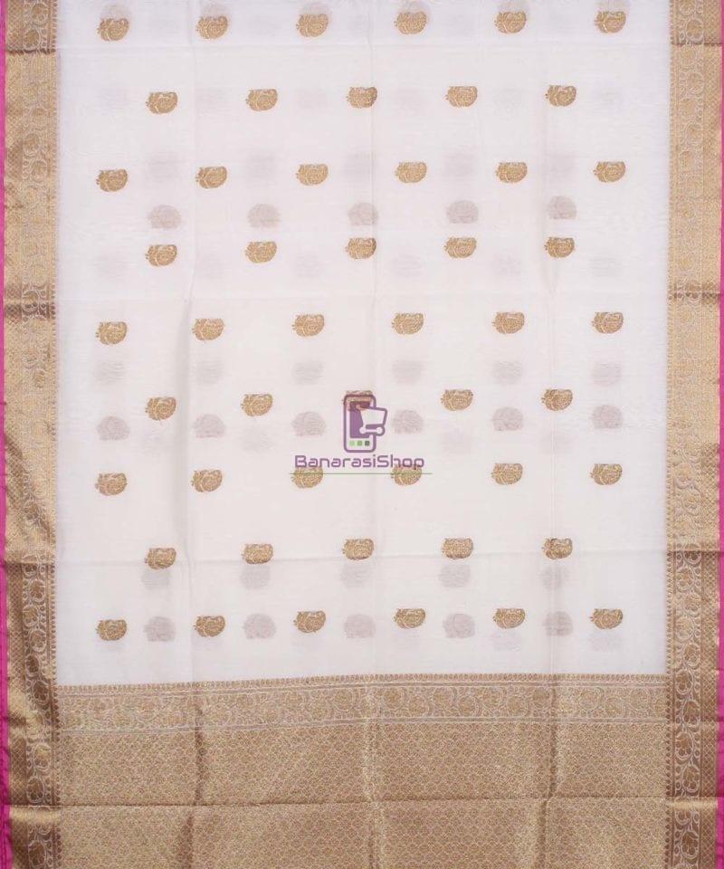 Banarasi Pure Handloom Silk Cotton Off-white Saree 1
