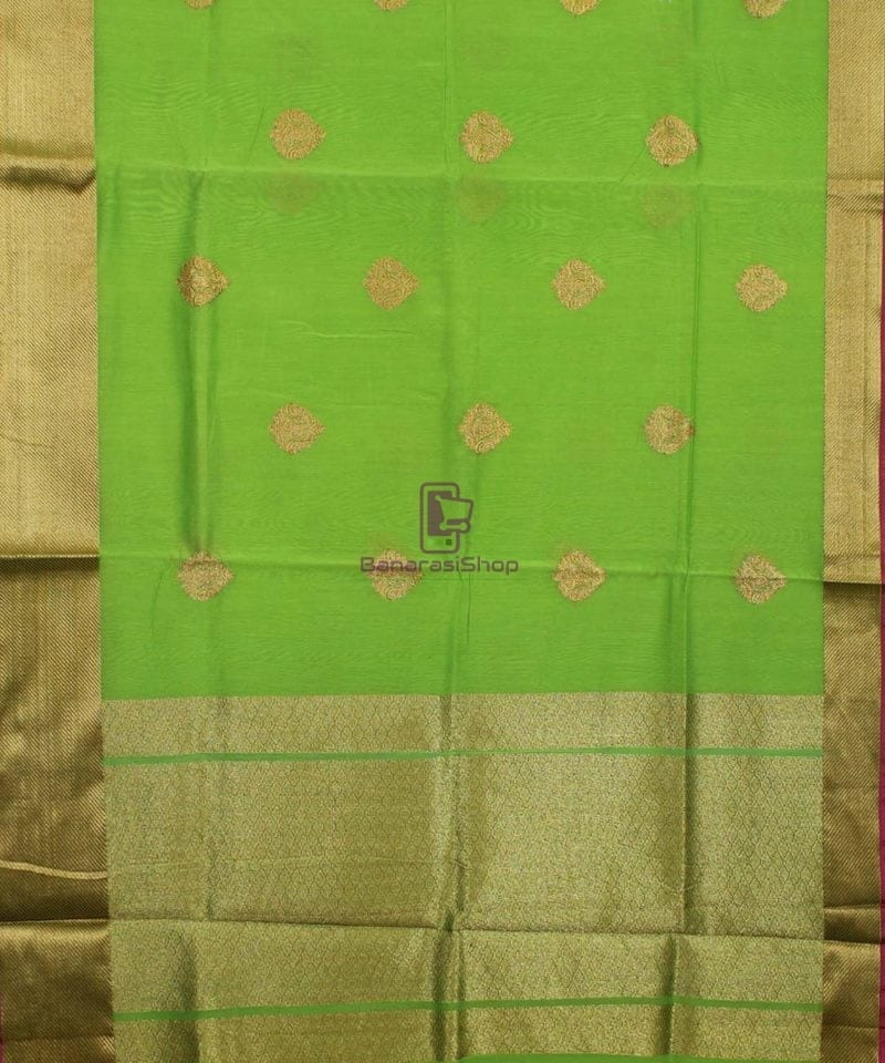 Banarasi Pure Handloom Silk Cotton Lime Green Saree 1