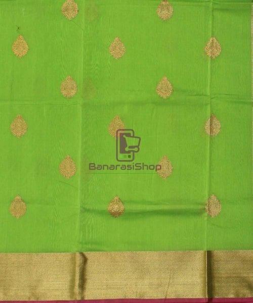 Banarasi Pure Handloom Silk Cotton Lime Green Saree 4