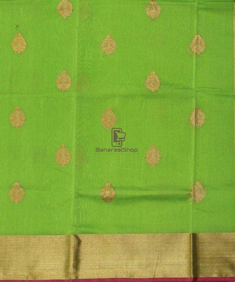 Banarasi Pure Handloom Silk Cotton Lime Green Saree 2