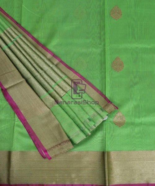 Banarasi Pure Handloom Silk Cotton Lime Green Saree 5