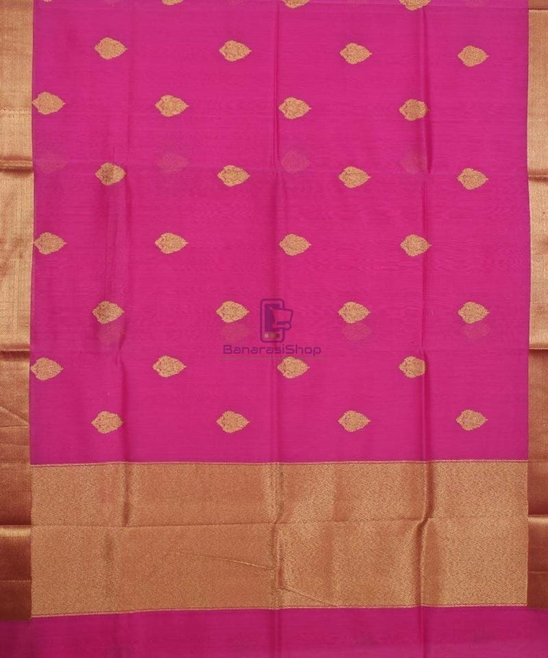 Banarasi Pure Handloom Silk Cotton Pink Saree 1