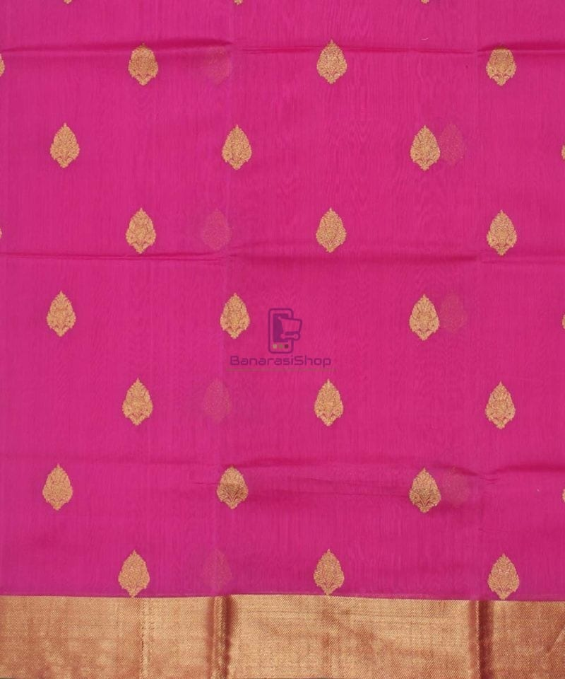Banarasi Pure Handloom Silk Cotton Pink Saree 2