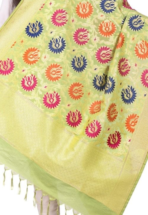 Woven Banarasi Art Silk Kimkhab Dupatta in Light Green 4